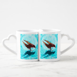 Fire & Ice meets Love & Hearts; Ravens Delight Couples' Coffee Mug Set