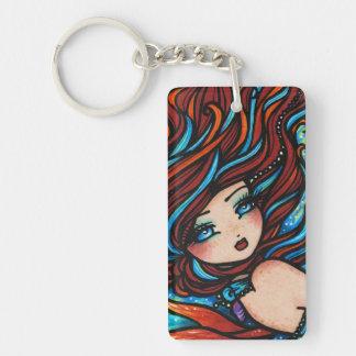 Fire & Ice Mermaid Fantasy Art by Hannah Lynn Keychain