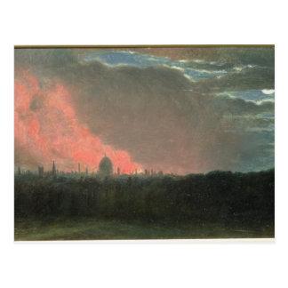Fire in London seen from Hampstead (oil on paper l Postcard