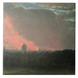 Fire in London seen from Hampstead (oil on paper l Large Square Tile