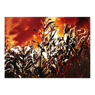 Fire in the corn field 5x7 paper invitation card