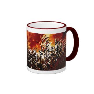 Fire in the corn field ringer mug