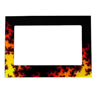 Fire In The Dark Abstract Fractal Art Magnetic Photo Frame