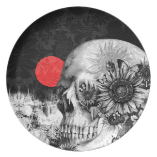 Fire in the dark nature skull in the mountains dinner plates