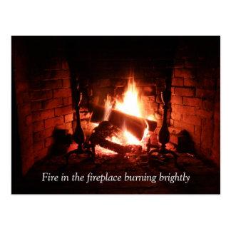 Fire in the Fireplace Postcard