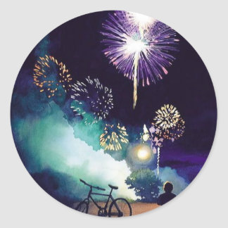 """""""Fire in the Sky"""" Fireworks Watercolor Art Classic Round Sticker"""
