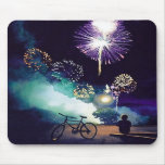 """""""Fire in the Sky"""" Fireworks Watercolor Art Mouse Pad"""