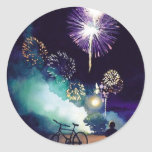 """""""Fire in the Sky"""" Fireworks Watercolor Art Round Sticker"""