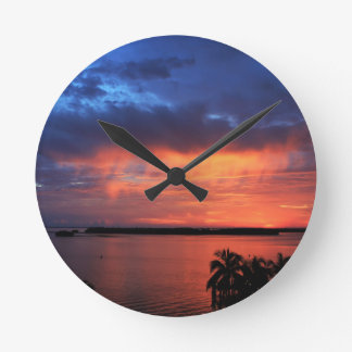 Fire in the Sky Round Clock