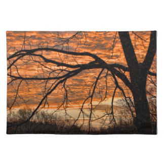 Fire in the Winter Morning Sky Place Mats