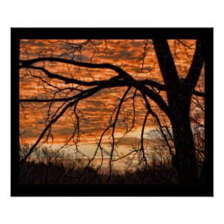 Fire in the Winter Morning Sky Poster