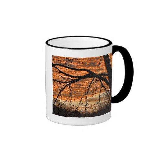 Fire in the Winter Morning Sky Ringer Coffee Mug