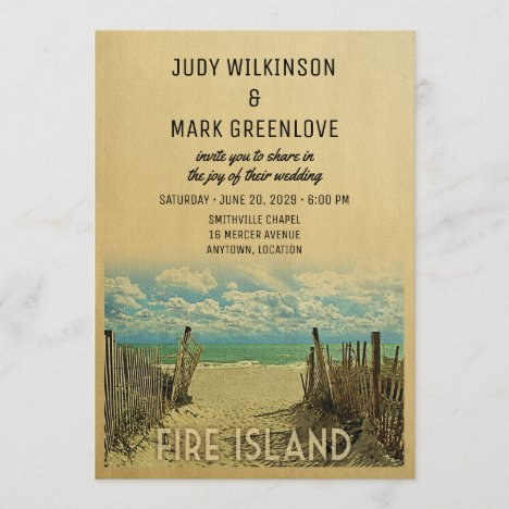 Fire Island Beach Vintage Wedding Invitation