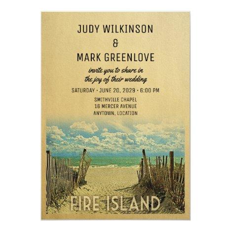 Fire Island Beach Vintage Wedding Invitation