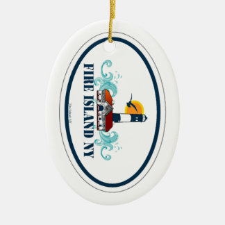 Fire Island. Double-Sided Oval Ceramic Christmas Ornament
