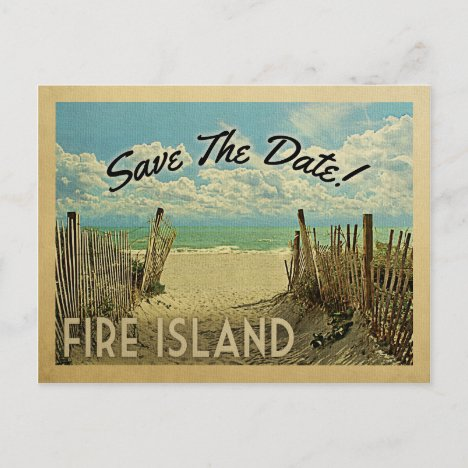 Fire Island Save The Date Vintage Beach Nautical Announcement Postcard