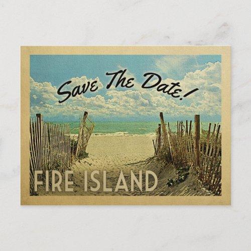 Fire Island Save The Date Vintage Beach Nautical Announcement Postcard