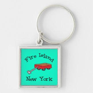 Fire Island Silver-Colored Square Keychain