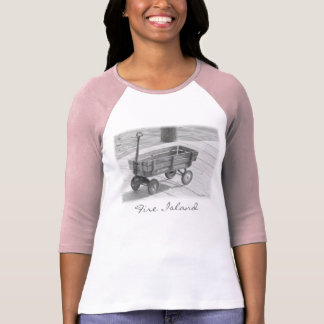 'Fire Island Wagon' Ladies' 3/4 Slve Raglan T Shirt