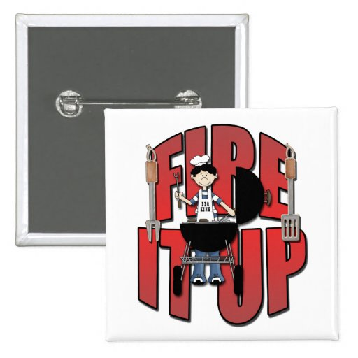 Fire It Up Barbeque Chef 2 Inch Square Button