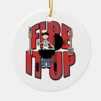 Fire It Up Barbeque Chef Ceramic Ornament