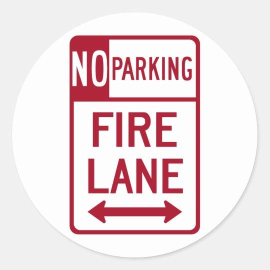 Fire Lane No Parking Sign Classic Round Sticker