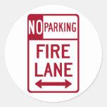 Fire Lane No Parking Sign Round Stickers