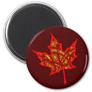 Fire Leaf 2 Inch Round Magnet