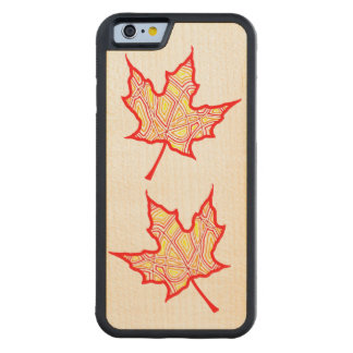 Fire Leaf Carved Maple iPhone 6 Bumper Case