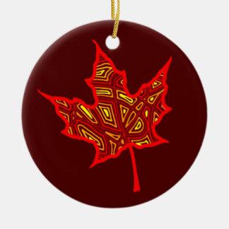 Fire Leaf Ceramic Ornament