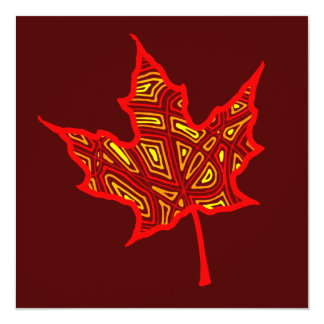 "Fire Leaf Invitation 5.25"" Square Invitation Card"