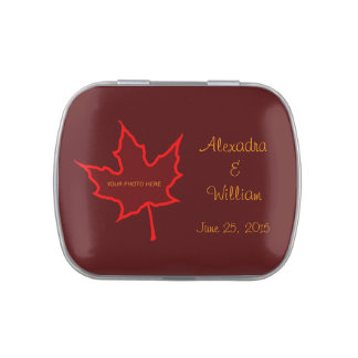 Fire Leaf Photo Candy Tin