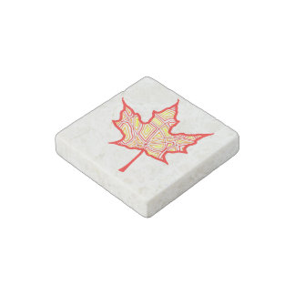 Fire Leaf Stone Magnet