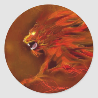 Fire lion artistic flames illustration classic round sticker