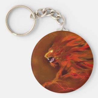 Fire lion artistic flames illustration key chains