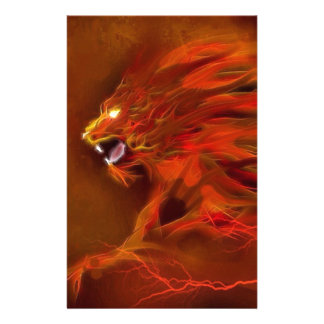 Fire lion artistic flames illustration stationery