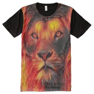 Fire Lion Spirit Animal Airbrush Art All-Over-Print T-Shirt