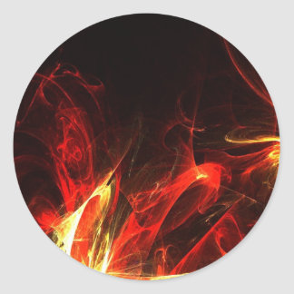 Fire Logo Fractal Abstract Art Gear Classic Round Sticker