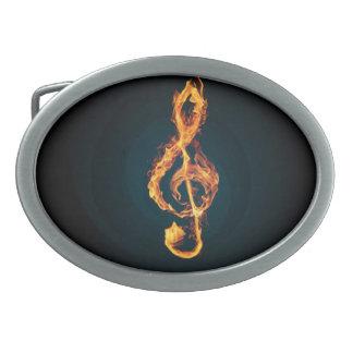 fire music note oval belt buckle