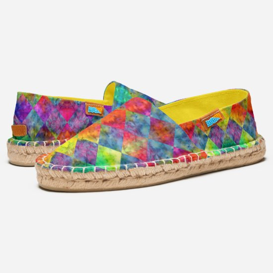 [Fire n Ice: Harlequin] Checkered Rainbow Tie-Dye Espadrilles