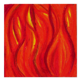 Fire Oil Pastel Poster