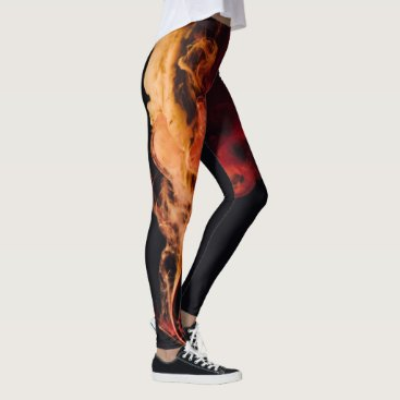 Beach Themed Fire on Black Leggins Leggings