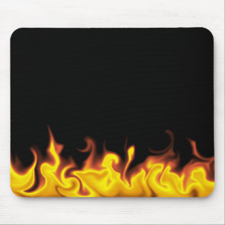 Fire on Black Mouse Pad