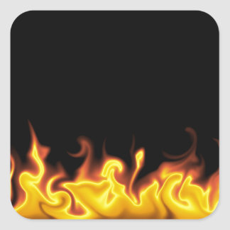 Fire on Black Square Sticker