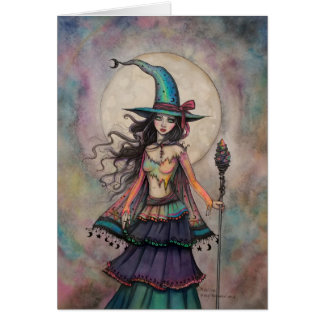 Fire Opal Witch Halloween Fantasy Art Wiccan Card