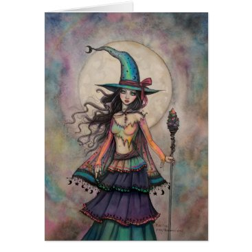 Halloween Themed Fire Opal Witch Halloween Fantasy Art Wiccan Card