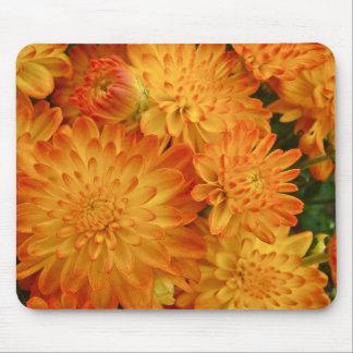 Fire Orange Chrysanthemums Mouse Pad