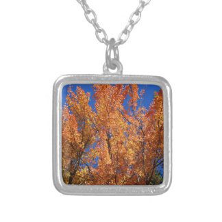 Fire Orange Tree Silver Plated Necklace