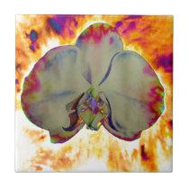 Fire orchid ceramic tile