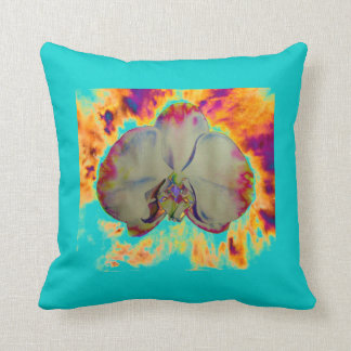 Fire Orchid  - turquoise Throw Pillow